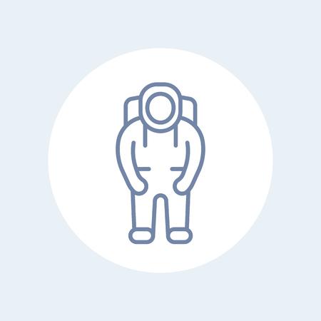 spaceflight: Astronaut line icon, astronaut pictogram, isolated icon, vector illustration