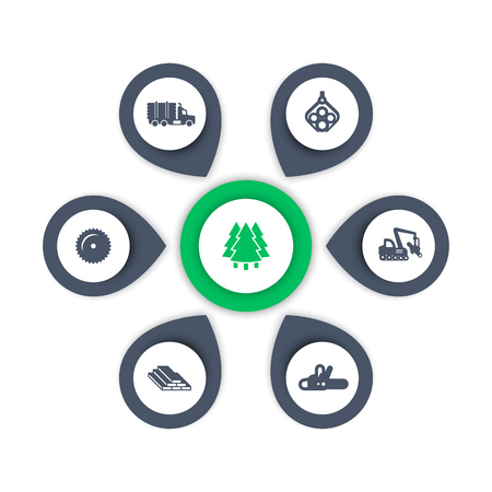 logging: Logging icons, timber, logging truck, tree harvester, lumberjack, wood, lumber, logging, timber infographic elements, icons, vector