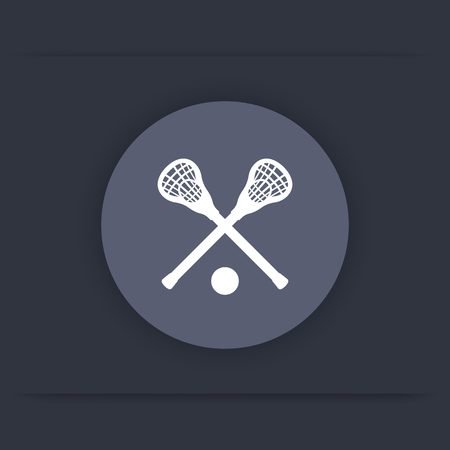 crosse: Lacrosse round icon, sign, crossed crosses, lacrosse sticks and ball flat icon, vector illustration