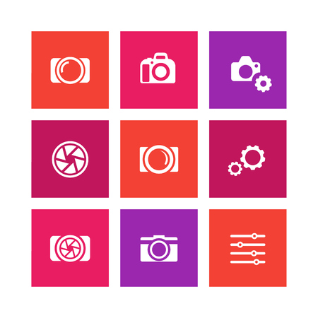 photography icons: photography icons, camera, aperture, photography signs, camera pictograms, square icons set, vector illustration
