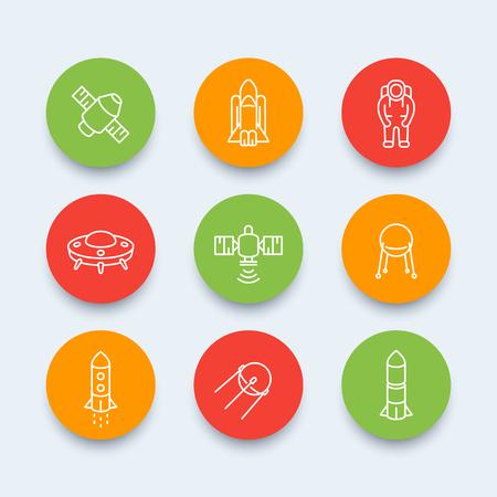 spacecraft: space line icons, satellite, astronaut, space shuttle, spaceship, spacecraft, space pictograms, round icons, vector illustration Illustration