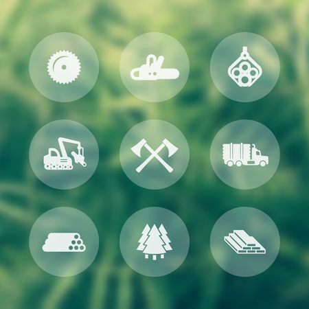 Logging, forestry equipment transparent icons, sawmill, logging truck, tree harvester, timber, wood, lumber, chainsaw icons, vector illustration