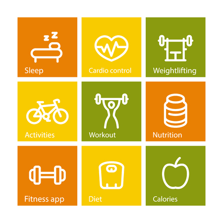 active lifestyle: Fitness thick line icons, fit and active lifestyle, workout, fitness icons on squares, vector illustration