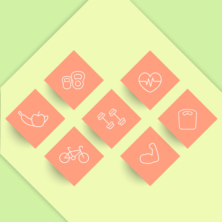 rhombic: line fitness icons on rhombic shapes, fitness pictograms, vector illustration Illustration