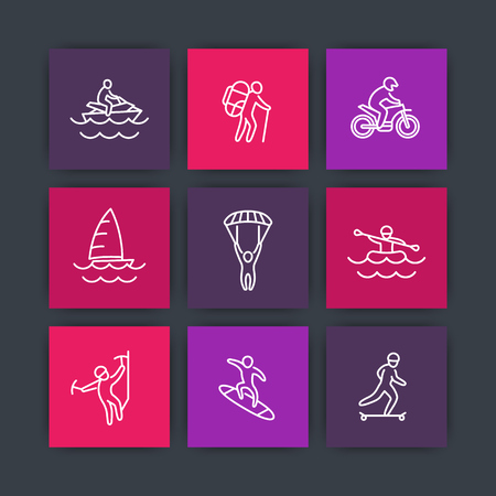 climbing sport: extreme outdoor activities line icons, square icons set, vector illustration