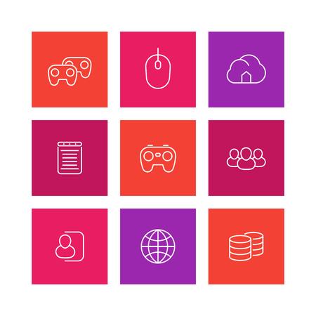 cooperativismo: Iconos de videojuegos en línea, CyberSport, video consola de juego iconos de líneas finas, multijugador, servidor, amigos, gamepad, cooperativo,
