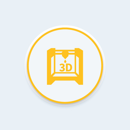 additive: 3d printer icon, additive manufacturing, 3d printing symbol, round icon, vector illustration Illustration