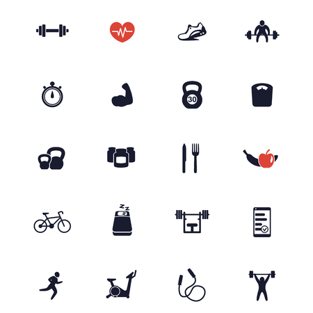 active lifestyle: 20 fitness icons, active lifestyle, fitness vector icons, gym, sport, workout, training icons, fitness signs isolated on white, vector illustration