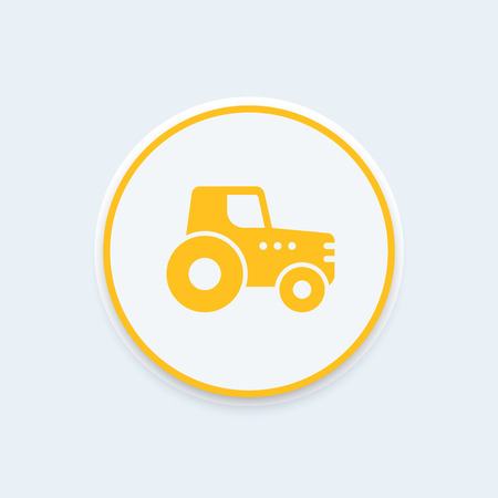 crop circle: Agrimotor, tractor icon, agrimotor symbol, agricultural machinery round icon, vector illustration
