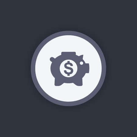 money box: moneybox icon, savings symbol, money box pig, piggy bank, income, banking, savings icon, vector illustration