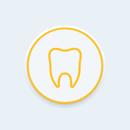 toothcare: Stomatology icon, tooth line icon, tooth pictogram, dental clinic logo element, vector illustration Illustration