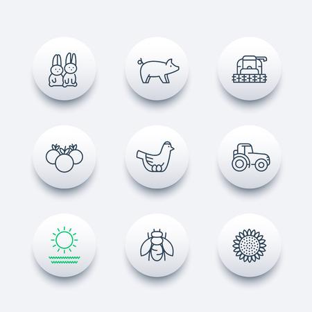 harvester: Farm, ranch line icons, tractor, harvester, hen, pig, crop, vegetables modern icons, vector illustration Illustration