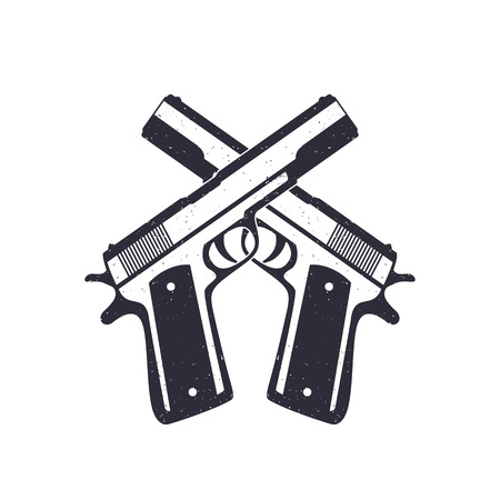 handguns: crossed classic pistols, handguns with grunge texture, vector illustration