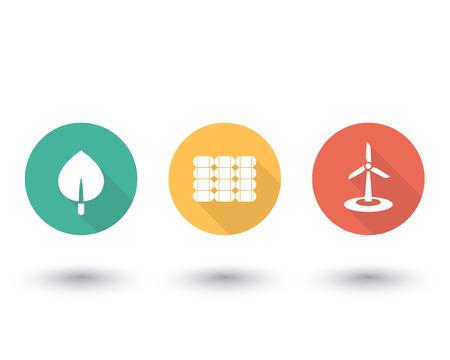energetics: Solar, wind energetics, biofuel, alternative energy solutions, green energetics, round flat icons on white, vector illustration