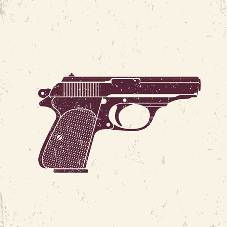 handgun: classic pistol, old handgun silhouette, pistol illustration, world war 2 german pistol, handgun, vector illustration Illustration