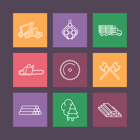 logging: Logging line icons, forestry, timber, tree harvester, truck with timber, lorry, sawmill, logging truck, flat icons on squares, vector illustration