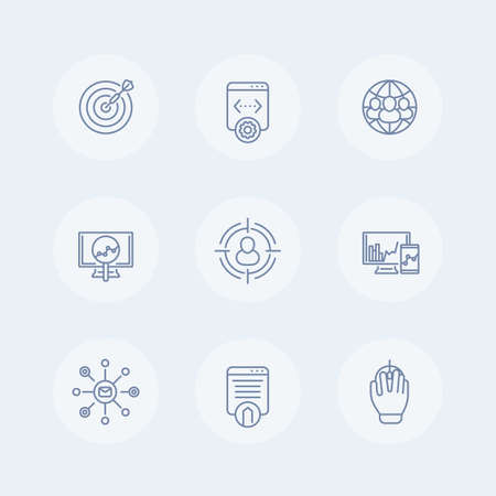 indexing: seo thin line icons, search engine optimization, internet marketing, seo, website indexing, seo tools icon, seo pictograms, vector