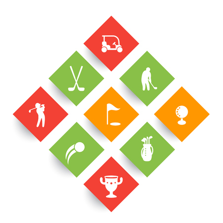 rhombic: Golf icons, golf clubs, golf player, golfer, golf bag, golf pictograms, rhombic icons on white, vector illustration Illustration