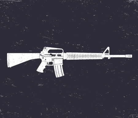 assault: 5.56 mm assault rifle, automatic gun, rifle, white on dark, vector illustration