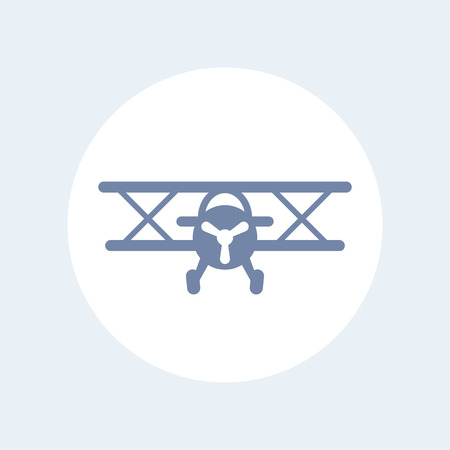 biplane: Biplane vector icon, biplane aircraft, airplane icon isolated on white, plane pictogram, vector illustration