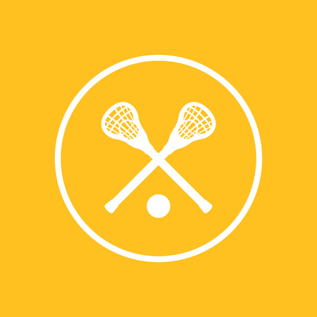 Lacrosse icon, sign, crossed crosses, lacrosse sticks and ball, lacrosse pictogram, flat icon, vector illustration
