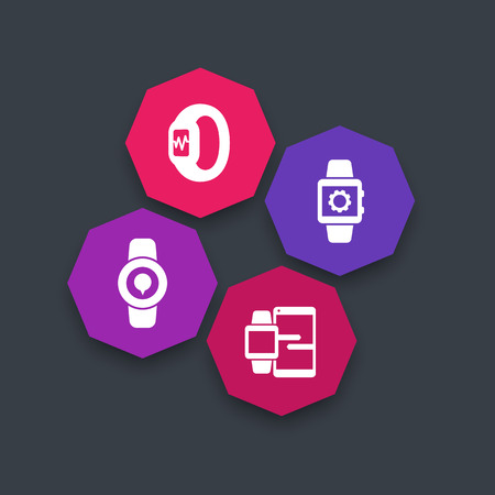synchronization: Smart watch icons, smartwatch, fitness tracker, smart watch data synchronization, wearable technology octagon icons, vector illustration