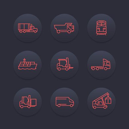 lading: Transportation line icons, forklift, cargo ship, train, cargo truck icon, transit, transportation pictograms, dark set, vector illustration