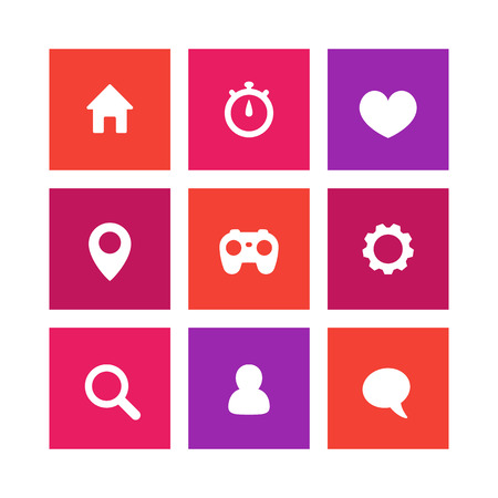 favourite: Basic web icons, settings, login icon, home, search, favourite, chat icon on square, vector illustration