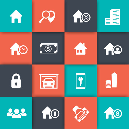 occupant: Real estate icons, house sale, search, real estate symbols, apartments, homes for rent, vector illustration