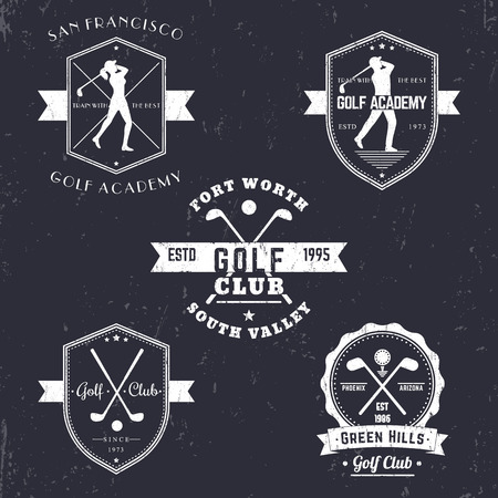 golf man: Golf club, golf academy vintage emblems, logos, golfer, crossed golf clubs and ball, golf logo, badge, vector illustration