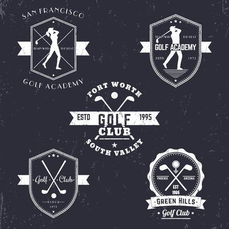 Golfclub, golfschool vintage emblemen, logo's, golfspeler, gekruiste golfclubs en bal, golf embleem, kenteken, vector illustratie
