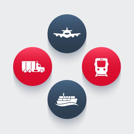 lading: transportation industry icons, cargo train vector, air transport, cargo ship, cargo truck icon, transportation pictograms, round icons, vector illustration Illustration