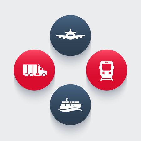 air port: transportation industry icons, cargo train vector, air transport, cargo ship, cargo truck icon, transportation pictograms, round icons, vector illustration Illustration