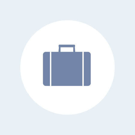 detachment: Suitcase icon, case, suitcase symbol, business trip, travel, isolated icon on white, vector illustration Illustration