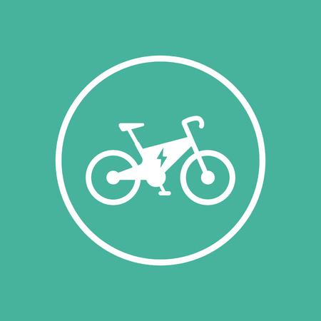 Electric bike icon, ecologic transport, electric bike pictogram, flat icon on green, vector illustration