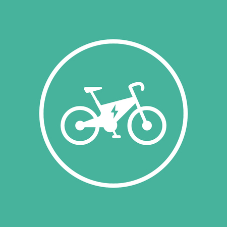 Electric bike icon, ecologic transport, electric bike pictogram, flat icon on green, vector illustration