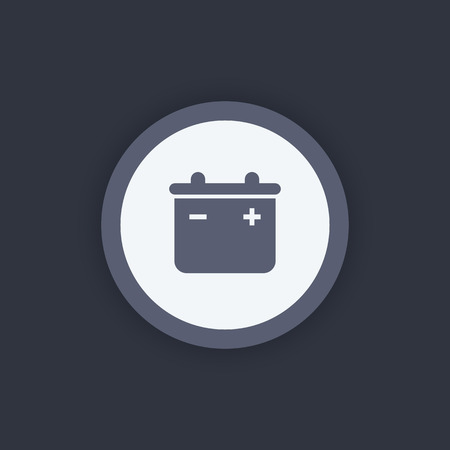 accumulator: accumulator round icon, battery sign, accumulator symbol, battery pictogram, vector illustration