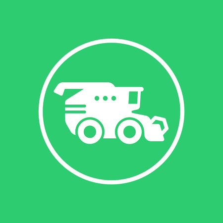 harvester: Harvester round icon, harvester machine, grain harvester combine sign, vector illustration