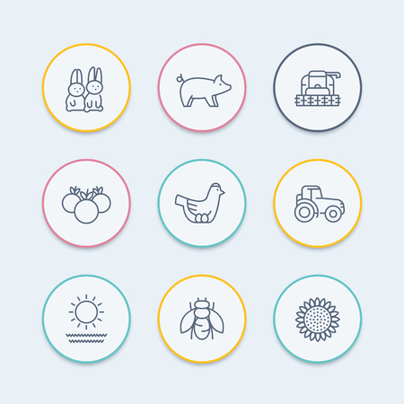 harvester: Farm, ranch line icons, tractor, harvester, hen, pig, rabbits, crop, round icons set, vector illustration