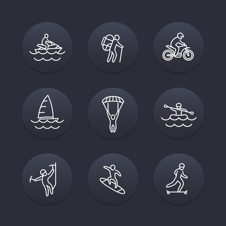 mountain silhouette: extreme outdoor activities line icons, dark pictograms, vector illustration