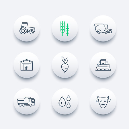 agricultural machinery: Agriculture, farming line icons, agrimotor, truck, harvest, cattle, agricultural machinery round modern icons, vector illustration