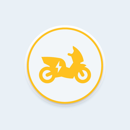 ecologic: electric scooter, motorbike round icon, EV, electric vehicle icon, ecologic transport, scooter icon, vector illustration