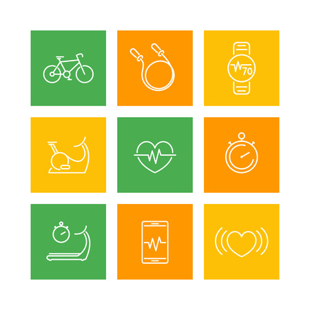 cardio fitness: cardio, fitness, heart training, square line icons on white, vector illustration Illustration