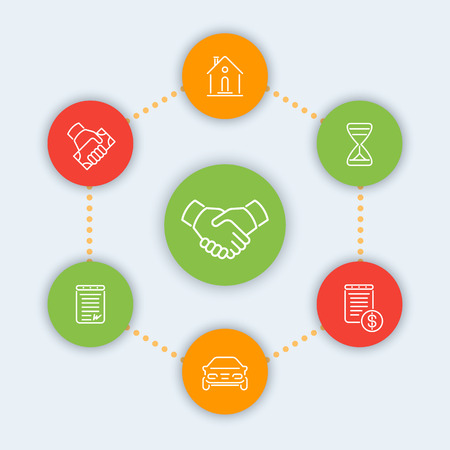 handgrip: Leasing line icons, banking, loan, lending, leasing pictograms, round color icons, vector illustration Illustration