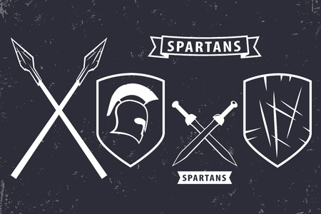 Espartanos. Elementos para el emblema, diseño de logotipos, casco espartano, espadas cruzadas, lanzas, escudo, ilustración vectorial