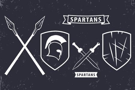 Spartans. Elements for emblem, logo design, spartan helmet, crossed swords, spears, shield, vector illustration Vettoriali