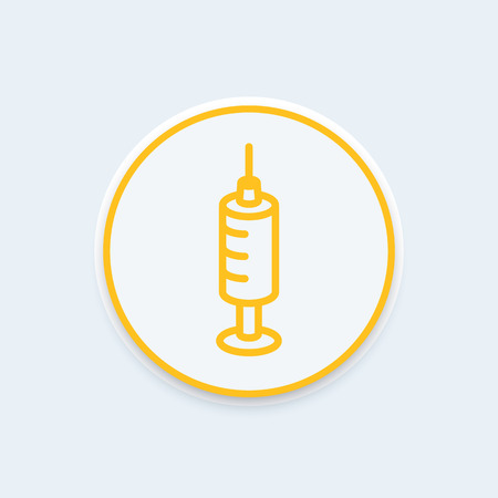 dispensary: syringe line icon, syringe sign, medicine, syringe vector icon, drug, health care round icon, vector illustration
