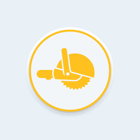 circular saw: Circular saw icon, pictogram, hand-held circular saw round icon, vector illustration