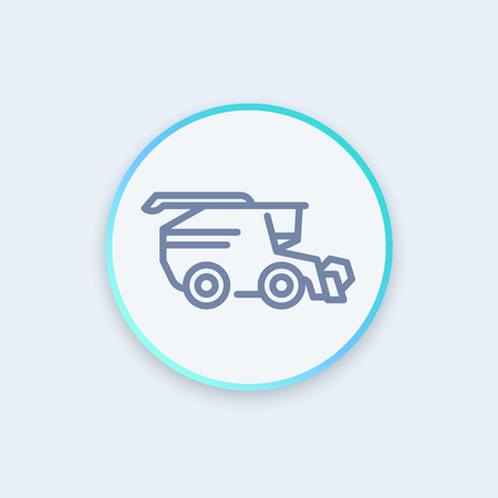 harvester: Harvester icon, grain harvester combine, harvester machine round icon, pictogram, vector illustration