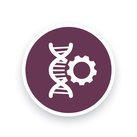 modification: dna modification icon, sign with dna chain and gear, dna repair pictogram, round icon, vector illustration